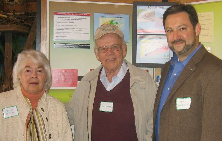 At the annual meeting of the Friends of Sherwood Island State Park, the speaker was Eric Hammerling, right, executive director of the Connecticut Forest and Park Association. Also pictured are Friends President Sheila O'Neill and board member Don Snook. Photo: Contributed Photo / Westport News