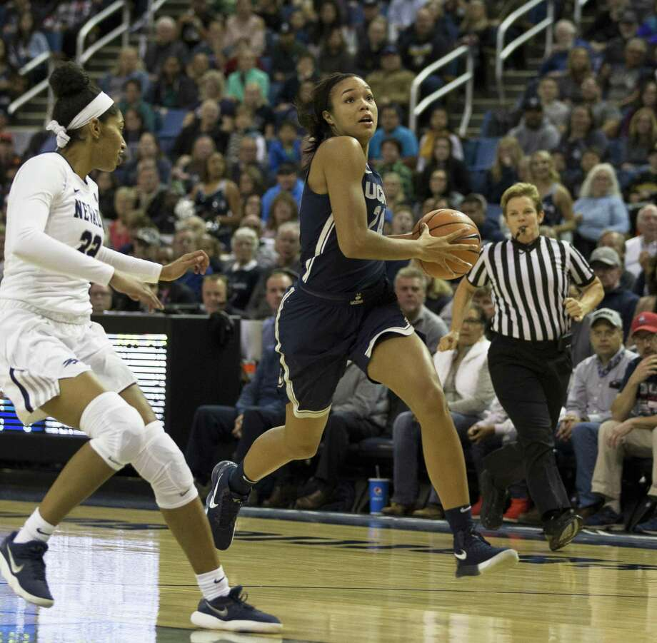 Connecticut's Napheesa Collier drives to the hoop in the second half of an NCAA college basketball game against Nevada in Reno, Nev. Tuesday, November 28, 2017. (AP Photo/Tom R. Smedes) Photo: Tom R. Smedes / Associated Press / FR171463 AP