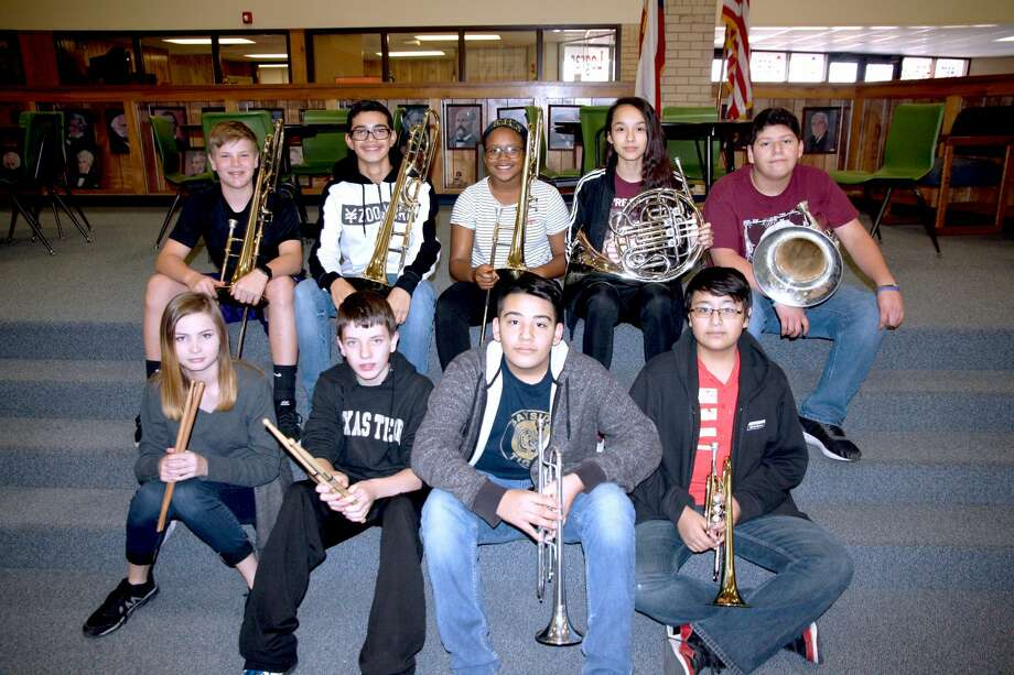 Coronado Middle School band students selected to the All-Region Band in percussion and brass are Molly Warren (front row, left), T.J. Smith, Alijah Villalon, Daniel Perea, Carson Northcutt (top row, left), Alex Casteneda, Jayda Brooks, Bela Juarez, and James Maciel. Photo: Jan Seago/Plainview ISD
