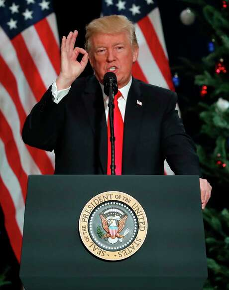 President Donald Trump speaks about tax reform Wednesday in St. Charles, Mo.  Photo: Jeff Roberson, STF / Copyright 2017 The Associated Press. All rights reserved.