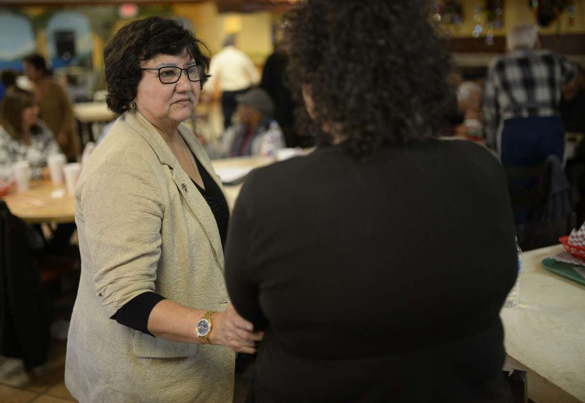 Dallas County Sheriff Lupe Valdez meets with the Midland County Democratic Party in January at Martinez Bakery. Valdez, Texas' first Hispanic female sheriff, announced Wednesday she will run against Texas Republican Gov. Greg Abbott in 2018.