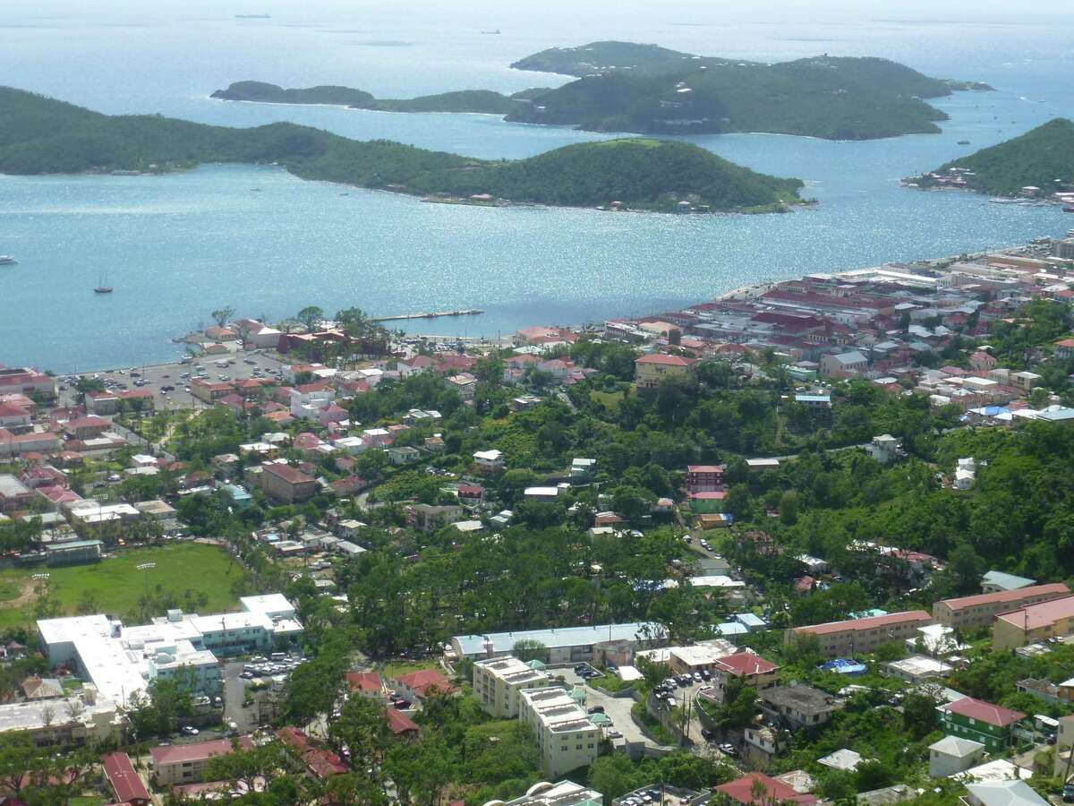 A view of the U.S. Virgin Islands - St. Thomas, St. Croix and St. John - from Mountain Top, the highest peak on St. Thomas.