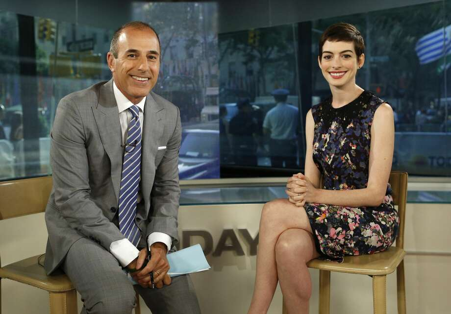 "In 2012, Anne Hathaway appeared on ""Today"" to promote the film adaptation of ""Les Miserables."" Lauer greeted the actress with what many considered to be a crude reference to an ""upskirt"" paparrazi shot of Hathaway exiting a vehicle.""Good morning, nice to see you,"" Lauer said. ""Seen a lot of you lately.""""Sorry about that,"" Hathaway said with a laugh.Lauer referred to the invasive photo as ""a little wardrobe malfunction"" and asked, ""What's the lesson learned from something like that other than that you keep smiling, which you always do?"" Hathaway was praised for her graceful response:""Well, it was obviously an unfortunate incident. It kind of made me sad on two accounts. One, I was very sad that we live in an age when someone takes a picture of another person in a vulnerable moment and rather than delete it and do the decent thing, sells it,"" Hathaway said.""And I'm sorry that we live in a culture that commodifies sexuality of unwilling participants,"" she added, before pivoting to the subject of her film, in which she played a poor single mother forced into prostitution. Photo: NBC NewsWire/NBCU Photo Bank Via Getty Images"