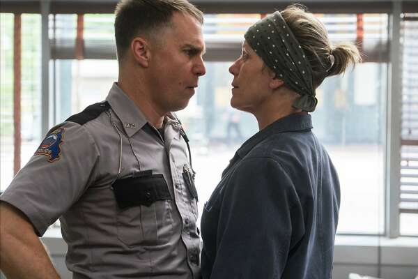 "This image released by Fox Searchlight shows Sam Rockwell, left, and Frances McDormand in a scene from ""Three Billboards Outside Ebbing, Missouri."" (Merrick Morton/Fox Searchlight via AP)"