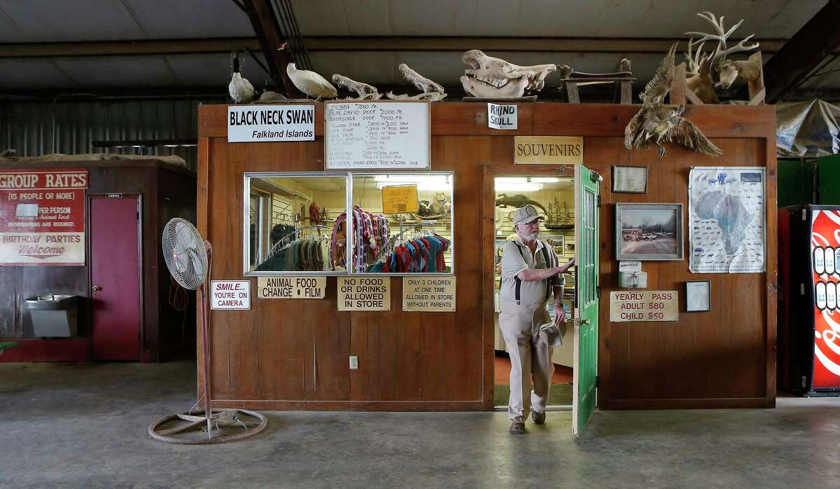 Clint Wolston, owner of Bayou Wildlife Zoo, exits his souvenir shop Wednesday, Nov. 29, 2017, in Galveston County. See more photos from inside the zoo...