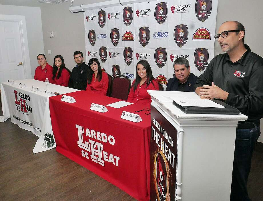 The Laredo Heat Soccer Club and owner Shashi Vaswani announced their return to professional competition as an expansion team in the National Premier Soccer League at a press conference Wednesday at La Quinta Inn. Photo: Cuate Santos /Laredo Morning Times / Laredo Morning Times