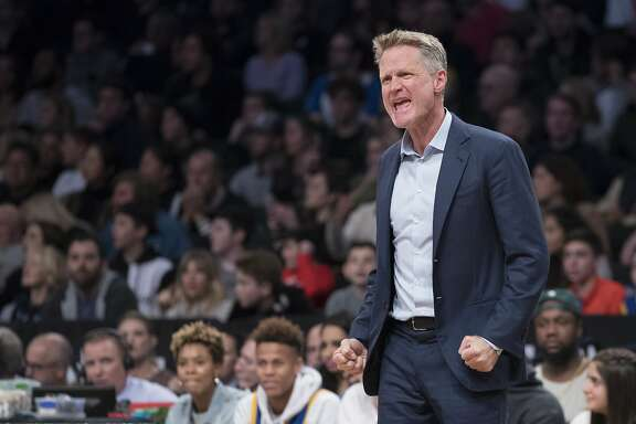Golden State Warriors head coach Steve Kerr reacts during the second half of an NBA basketball game against the Brooklyn Nets, Sunday, Nov. 19, 2017, in New York. (AP Photo/Mary Altaffer)