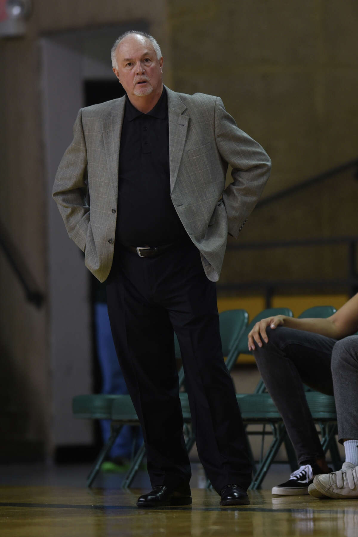 Midland College men's basketball head coach Pat Rafferty looks on during the game against South Plains College on Nov. 29, 2017, at Chaparral Center. James Durbin/Reporter-Telegram