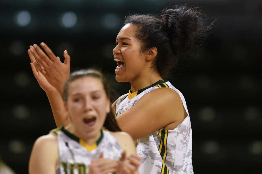 Midland College's Ella Tofaeono (0) celebrates a win against South Plains College on Nov. 29, 2017, at Chaparral Center. James Durbin/Reporter-Telegram Photo: James Durbin