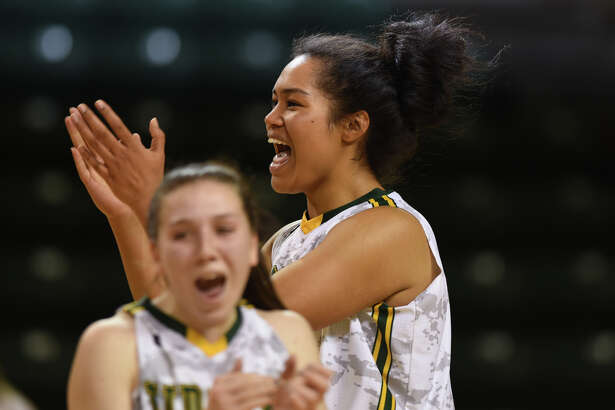 Midland College's Ella Tofaeono (0) celebrates a win against South Plains College on Nov. 29, 2017, at Chaparral Center. James Durbin/Reporter-Telegram