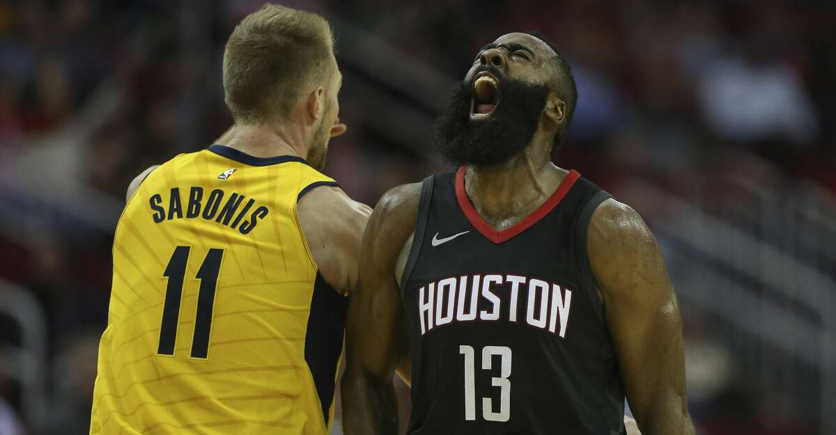 Houston Rockets guard James Harden (13) reacts to scoring a three-pointer during the third quarter of a NBA game at Toyota Center on Wednesday, Nov. 29, 2017, in Houston. The Houston Rockets defeated the Indiana Pacers 118-97. ( Yi-Chin Lee / Houston Chronicle ) For a look at the top candidates in the running for the MVP award, browse through the slideshow.