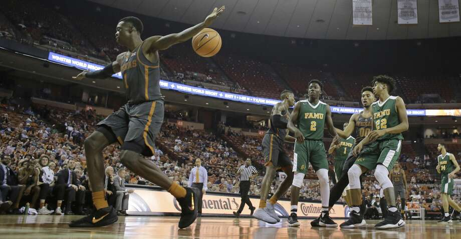 Texas guard Andrew Jones (1) celebrates a score against Florida A&M during the second half of an NCAA college basketball game, Wednesday, Nov. 29, 2017, in Austin, Texas. Texas won 82-58. (AP Photo/Eric Gay) Photo: Eric Gay/Associated Press