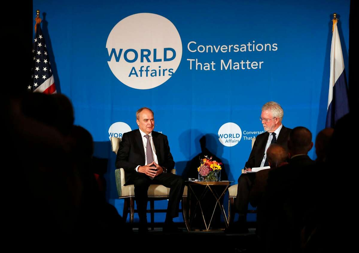 Anatoly Antonov, Russian Ambassador to the United States, speaks while being interviewed by Stanford University's David Holloway at the World Affairs Council in San Francisco, Calif., on Wednesday, November 29, 2017.