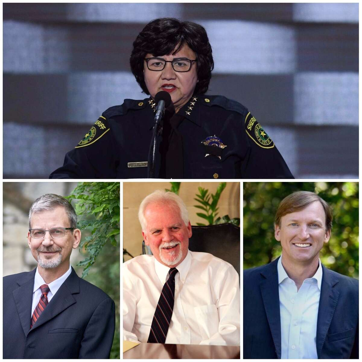 Lupe Valdez, top; Jeffrey Payne, lower left, Tom Wakley, center, and Andrew White, right, are on the list of candidates who want to run for governor as Democrats.