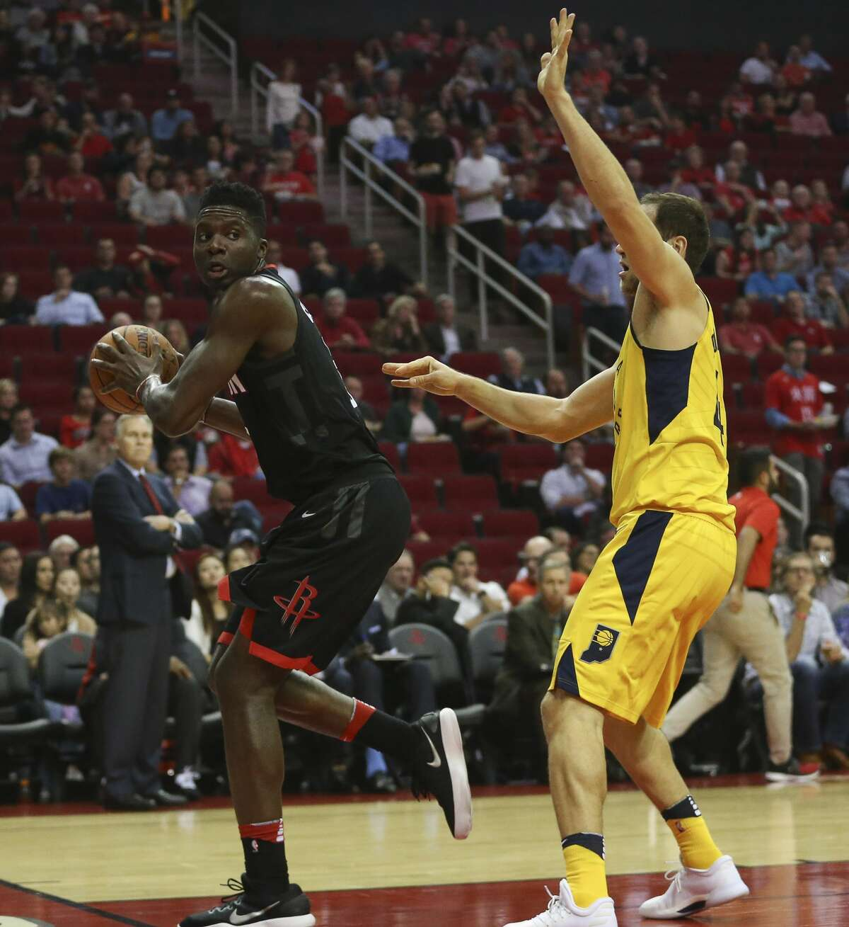 Houston Rockets center Clint Capela (15) goes out-of-bounce while trying to make a pass during the first quarter of a NBA game against the Indiana Pacers at Toyota Center on Wednesday, Nov. 29, 2017, in Houston. ( Yi-Chin Lee / Houston Chronicle )
