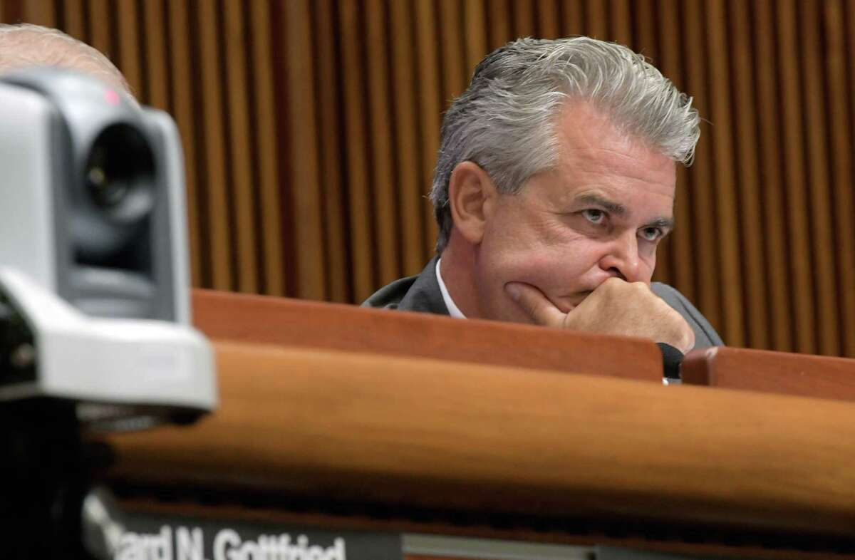 Assemblyman Steve McLaughlin listens as Howard Zucker, commissioner Department of Health, answers a question during a joint legislative public hearing on water quality and contamination on Wednesday, Sept. 7, 2016, in Albany, N.Y. (Paul Buckowski / Times Union)