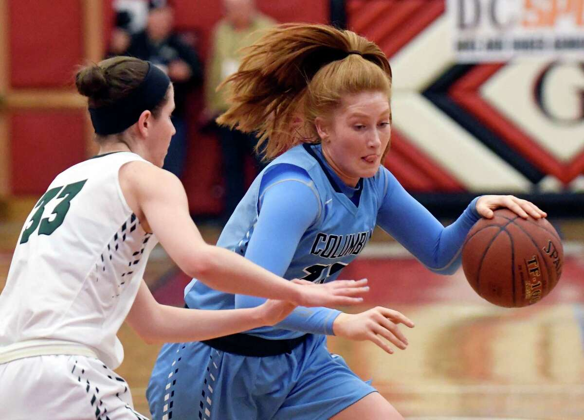 Shenendehowa's Alexandra Tudor (33) defends against Columbia's Grace Heeps (23) during the first half of a Section II Class AA girls' basketball quarterfinal game on Monday, Feb. 27, 2017, in Guilderland, N.Y. (Hans Pennink / Special to the Times Union) ORG XMIT: HP102