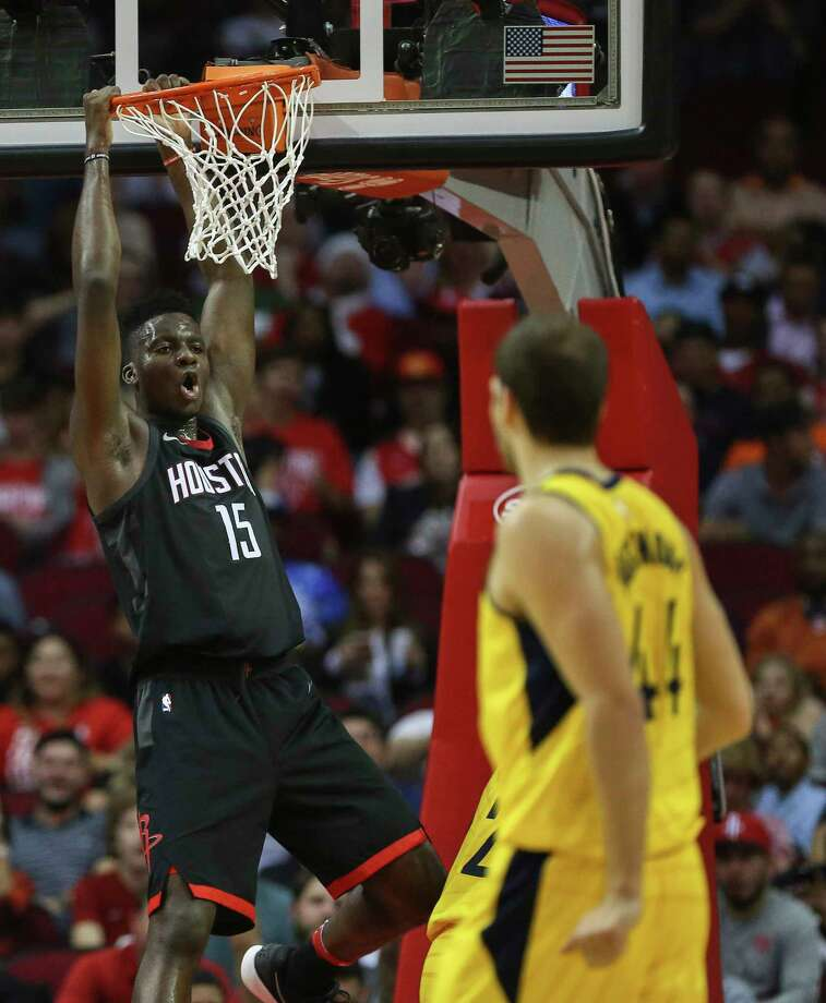 Houston Rockets center Clint Capela (15) reacts to dunking the ball into the basket during the third quarter of a NBA game against the Indiana Pacers at Toyota Center on Wednesday, Nov. 29, 2017, in Houston. The Houston Rockets defeated the Indiana Pacers 118-97. ( Yi-Chin Lee / Houston Chronicle ) Photo: Yi-Chin Lee, Houston Chronicle / © 2017  Houston Chronicle