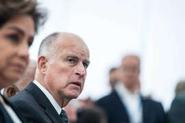 """BONN, GERMANY - NOVEMBER 11: California Governor Jerry Brown joins a discussion at the America's Pledge launch event at the U.S. """"We Are Still In"""" pavilion at the COP 23 United Nations Climate Change Conference on November 11, 2017 in Bonn, Germany. America's Pledge is a report detailing the efforts of U.S. states, cities and businesses to keep America on line in fulfilling goals towards carbon reduction set out by the Paris Climate Agreement. U.S. President Donald Trump has announced that the U.S. is withdrawing from the accord and the White House is sending its own delegation of fossil fuel supporters to the COP 23 conference next week to make the case for the continued role of coal and petroleum in world energy needs. (Photo by Lukas Schulze/Getty Images)"""