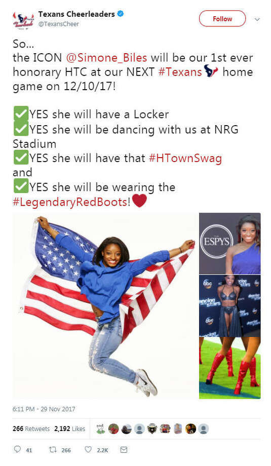Four-time Olympic gold medalist Simone Biles will take the field at NRG Stadium in December as an honorary Houston Texans Cheerleader. Photo: Twitter