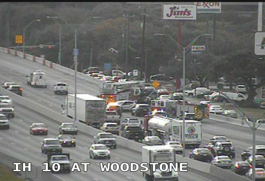 Three lanes are shut down on I-10 East near Huebner Road as crews clear a major wreck.