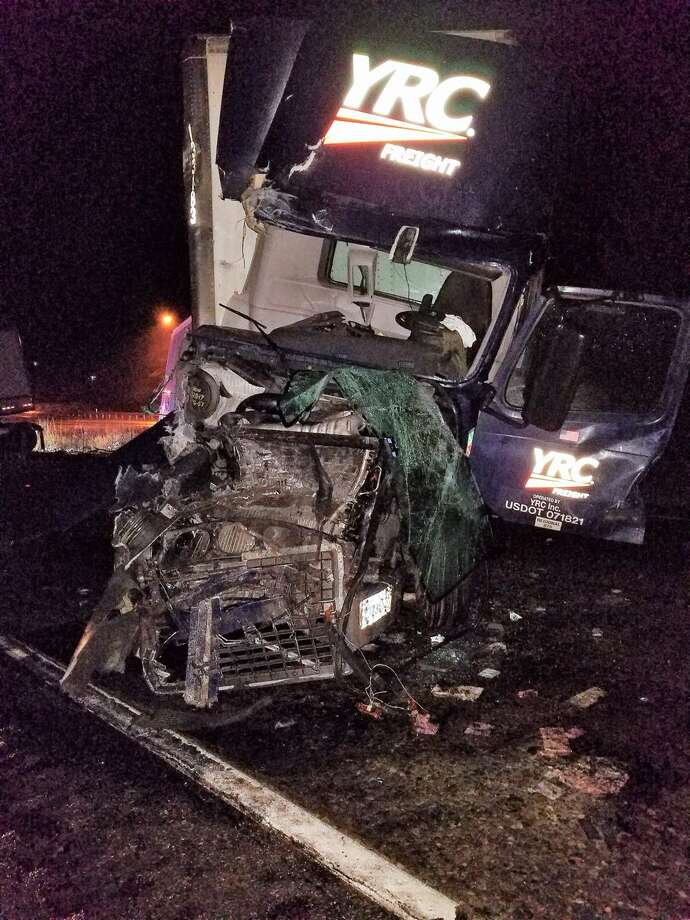 Two tractor-trailers were involved in a crash that shut down southbound Interstate 5 near Bellingham Thursday morning. Photo: WSDOT