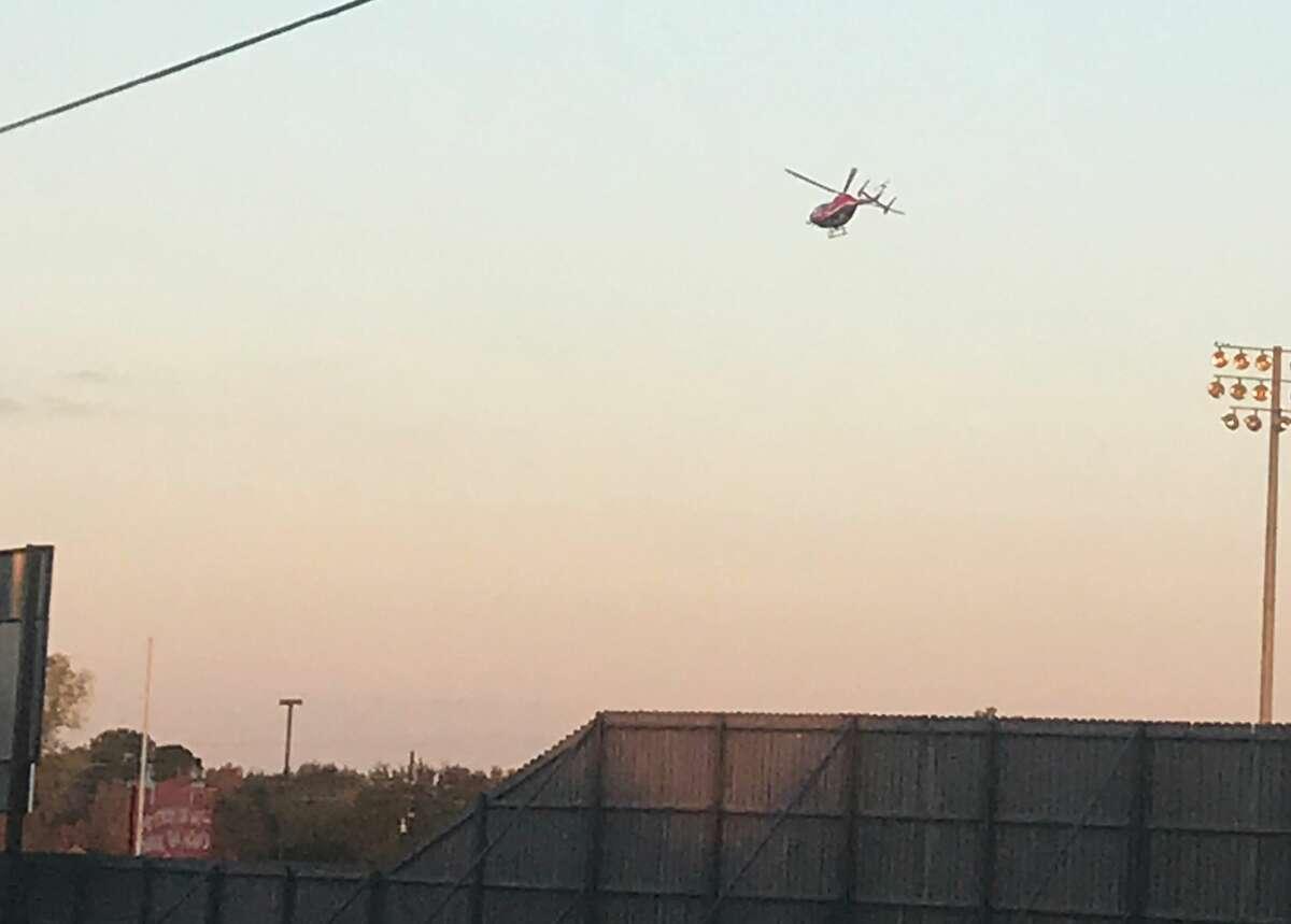 A LifeFlight helicopter leaves Glenda Dawson High School in Pearland Texas on Nov. 30, 2017.