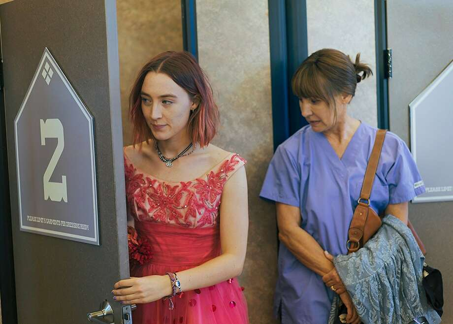 """""""Lady Bird"""" (starring Saorise Ronan, left, and Laurie Metcalf, right) holds a 100-percent positive score on Rotten Tomatoes - with 165 reviews counted. That's a record. Photo courtesy A24. Photo: A24"""
