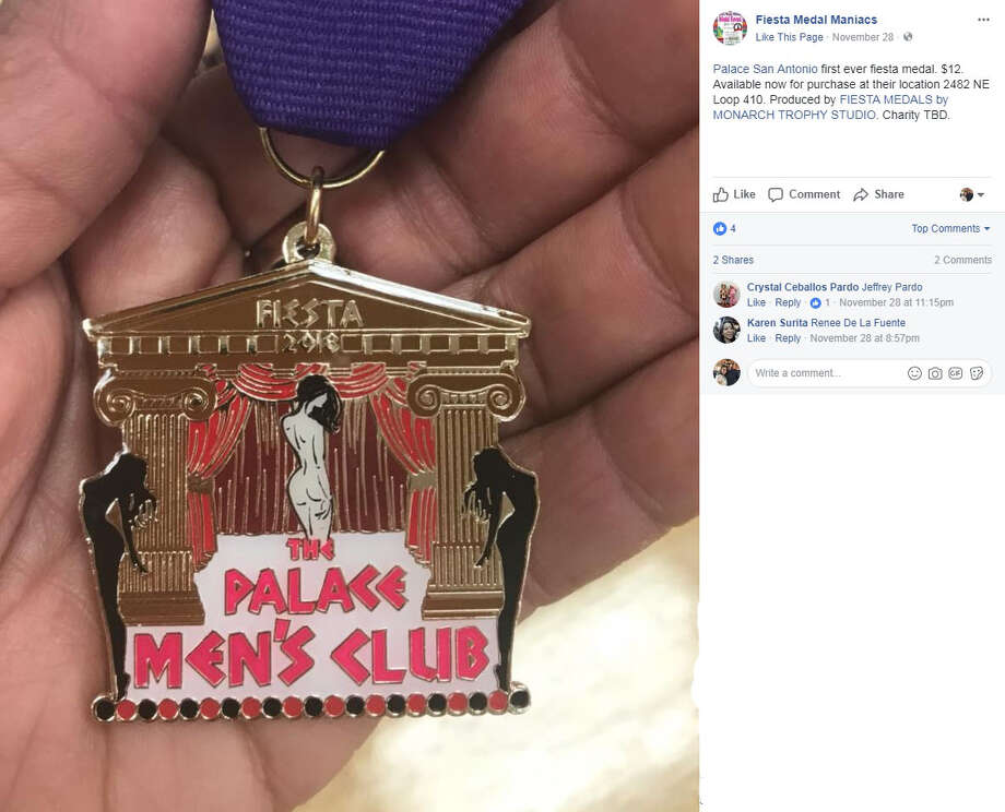 """Fiesta Medal Maniacs: """"Palace San Antonio first ever fiesta medal. $12. Available now for purchase at their location 2482 NE Loop 410. Produced by FIESTA MEDALS by MONARCH TROPHY STUDIO. Charity TBD."""" Photo: Facebook/Fiesta Medal Maniacs"""