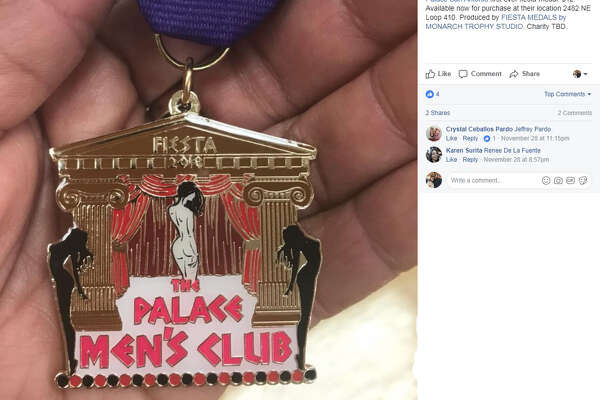 "Fiesta Medal Maniacs : ""Palace San Antonio first ever fiesta medal. $12. Available now for purchase at their location 2482 NE Loop 410. Produced by FIESTA MEDALS by MONARCH TROPHY STUDIO. Charity TBD."""