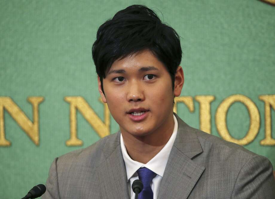Japanese pitcher-outfielder Shohei Ohtani speaks during a press conference at Japanese National Press Center in Tokyo, Saturday, Nov. 11, 2017. Ohtani announced on Saturday he wants to move to Major League Baseball next season. (AP Photo/Koji Sasahara) Photo: Koji Sasahara, Associated Press