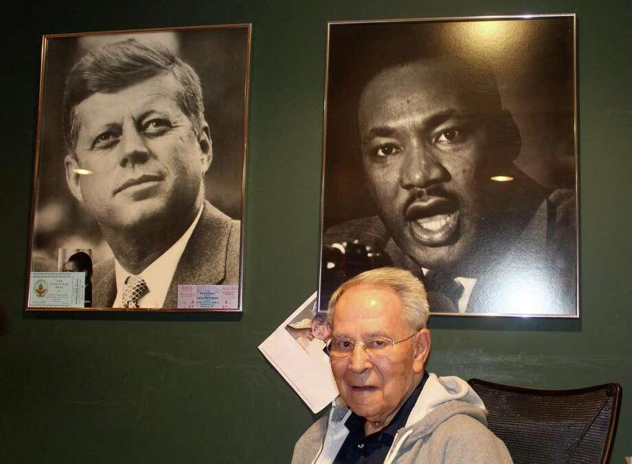 Retiring Westport News columnist Woody Klein sits at his desk at his Westport home. Photo: Sophie Vaughan /Hearst Connecticut Media