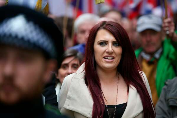 (FILES) This file photo taken on April 01, 2017 shows Jayda Fransen, acting leader of the far-right organisation Britain First marching in central London.  President Donald Trump on November 29, 2017 retweeted three anti-Muslim videos posted by Jayda Fransen, deputy leader of the far-right group Britain First.  / AFP PHOTO / Daniel LEAL-OLIVASDANIEL LEAL-OLIVAS/AFP/Getty Images