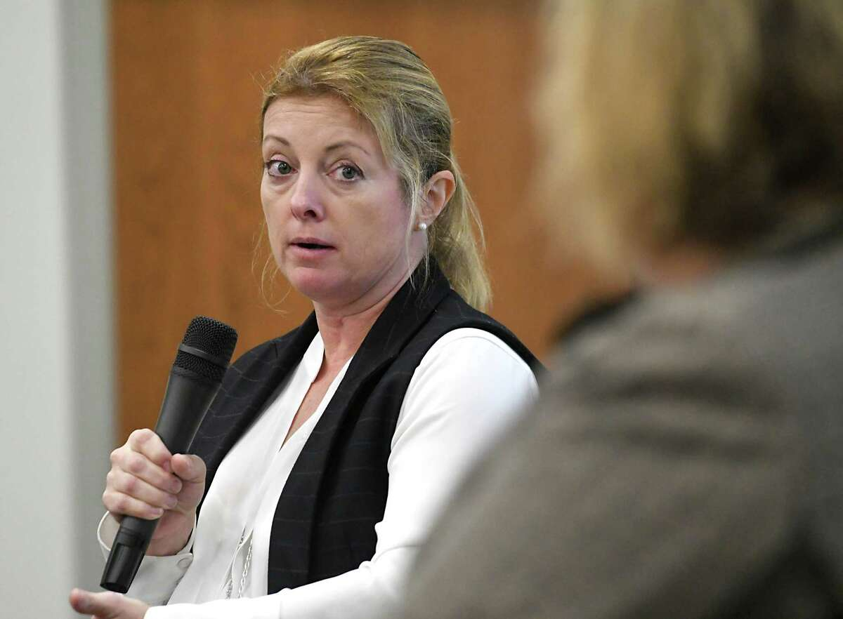 Heather Briccetti, president and CEO of the Business Council of New York State, speaks during a panel discussion on the gig economy, cyber threats and the Capital Region's workforce at an event at Hearst Media Center on Thursday, Nov. 30, 2017 in Colonie, N.Y. (Lori Van Buren / Times Union)