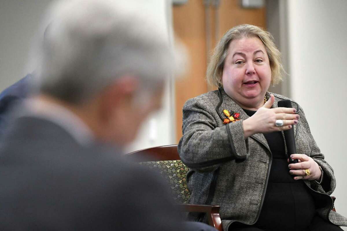 New York State Senator Liz Krueger, ranking democrat on the Finance Committee, speaks during a panel discussion on the gig economy, cyber threats and the Capital Region's workforce at an event at Hearst Media Center on Thursday, Nov. 30, 2017 in Colonie, N.Y. (Lori Van Buren / Times Union)