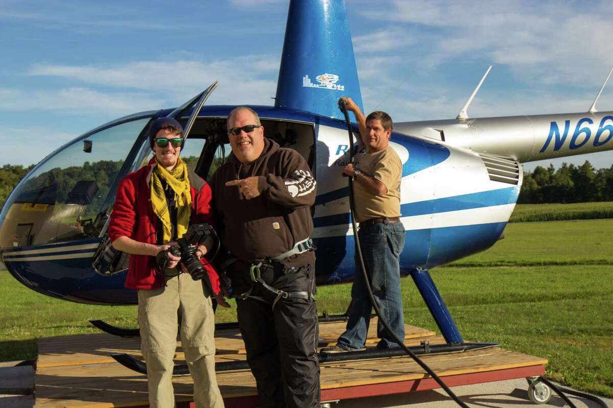 """Director Blake Cortright, left, with crew and helicopter used for aerial shots in """"The 46ers""""(Connie Cortright/The 46ers - Blake Cortright)"""