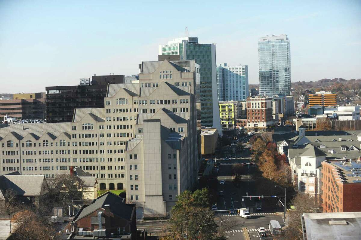 """Downtown Stamford, Conn., as seen from 750 East Main St., on Wednesday, Nov. 29, 2017. A presentation by the new economic-development consortium Fairfield County Five, which includes Stamford, touts Connecticut as having the lowest """"total effective business tax rate"""" in the country, at 3.5 percent."""
