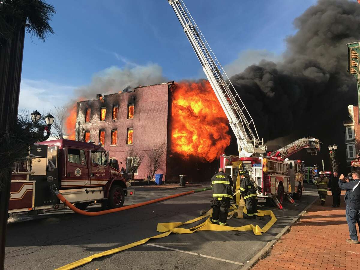 Fire consumes a building on Remsen Street in Cohoes on Thursday, Nov. 30, 2017.