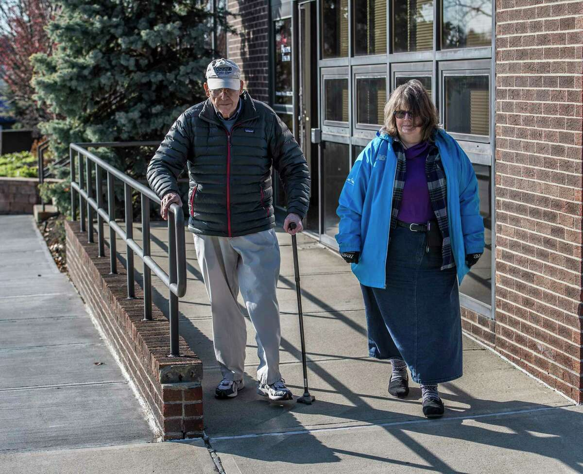 Mary Bailey volunteer for Community Caregivers picks up client Douglas Bowden at the Albany Physical Therapy at Executive Park Tuesday Nov. 28, 2017 in Albany, NY. (Skip Dickstein/ Times Union)