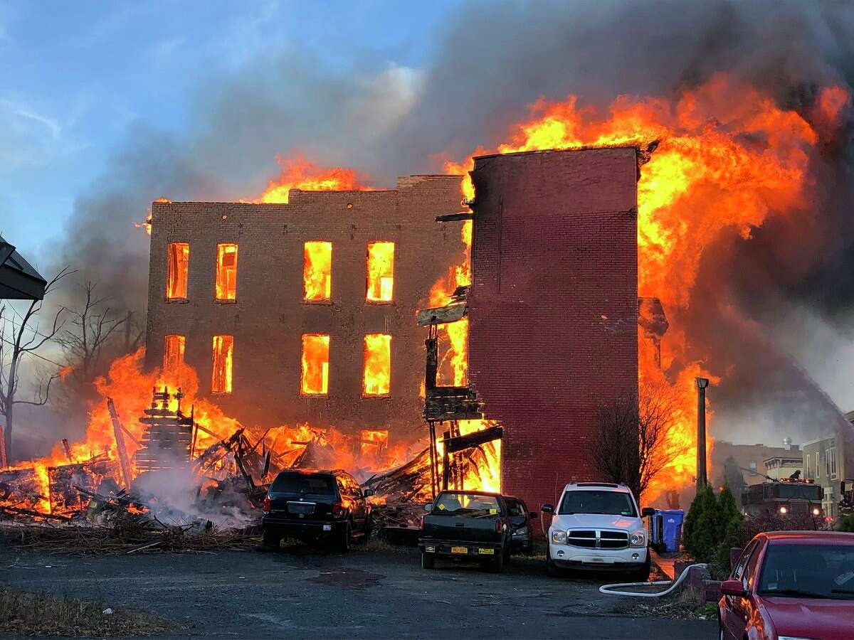 Flames consume several buildings on Remsen Street in Cohoes on Thursday, Nov. 30, 2017. (Skip Dickstein/Times Union)