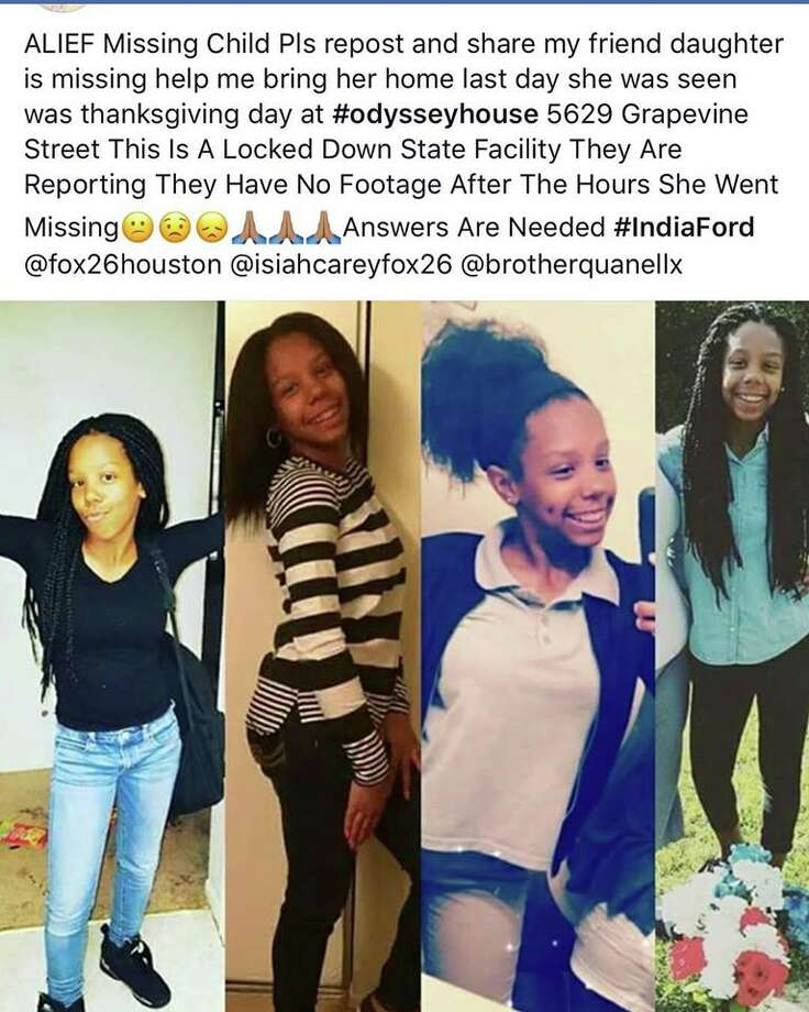 India Ford's mother has been circulating these photos of her daughter on social media. Ford, 16, has been missing since Thanksgiving Day.