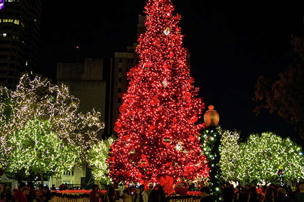 """Photos show various buildings, businesses, parks and areas around San Antonio illuminated with lights for the mayor's """"Light It Up Downtown"""" holiday contest. The contest goes until Dec. 20, 2017."""