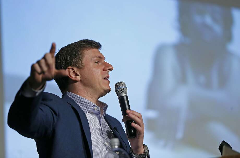 James O'Keefe, of Project Veritas, speaks at on the Southern Methodist University campus in Dallas, Wednesday, Nov. 29, 2017. (Jae S. Lee/The Dallas Morning News via AP) Photo: Jae S. Lee, Associated Press