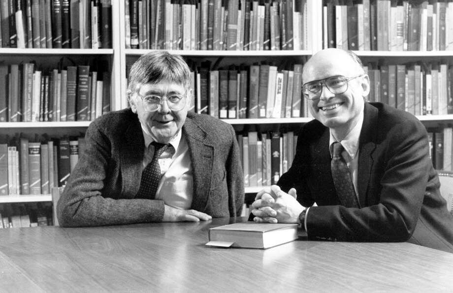 "The late Wesleyan University history professor Jeffrey Butler of Middletown, left, died in 2008 before he could finish his final book. ""Craddock: How Segregation and Apartheid Came to a South African Town"" is a study of racism and white dominance in the small desert town where he was born. His colleague and longtime friend, Wesleyan history professor Richard H. Elphick, right, did extensive editing to the book. Photo: Contributed Photo"