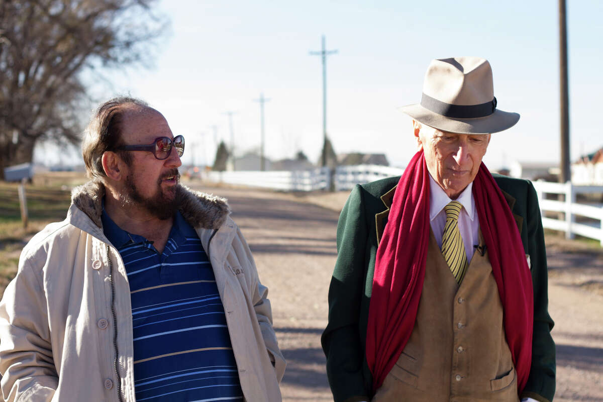 """This image released by Netflix shows Gerald Foos, a former Colorado motel owner who spied on his guests, left, celebrated writer Gay Talese in the documentary """"Voyeur,"""" by filmmakers Myles Kane and Josh Koury. (Cris Moris/Netflix via AP) ORG XMIT: NYET602"""