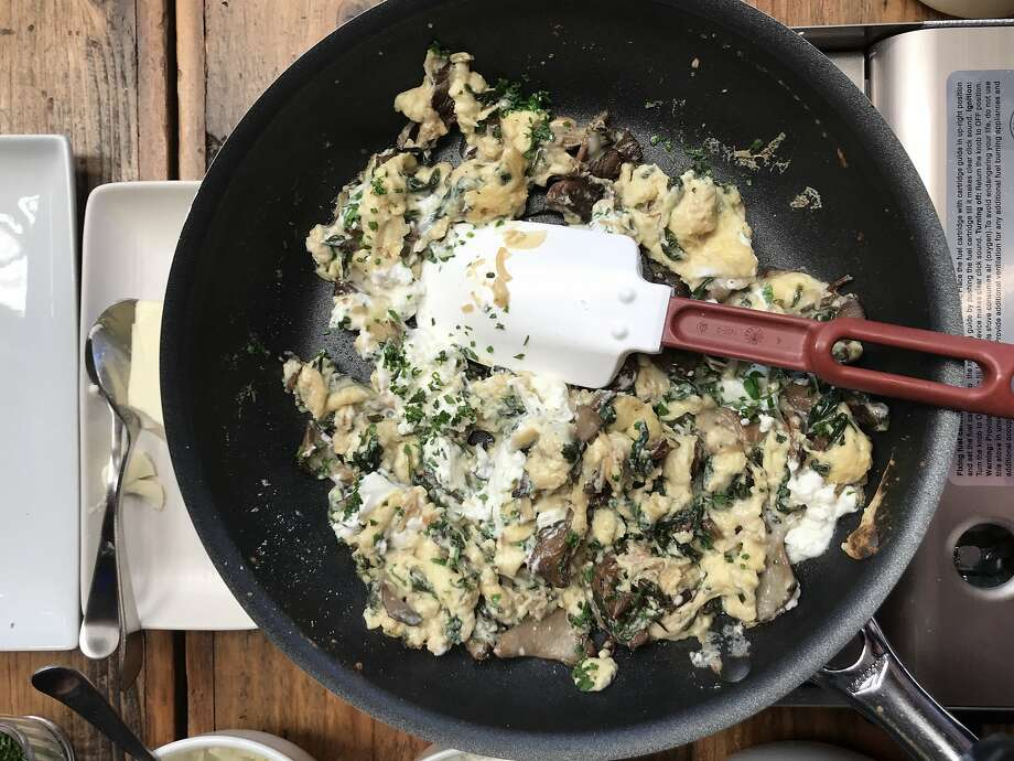 The Just Scramble Flore with spinach, mushrooms and goat cheese made with Hampton Creek's Just Scramble egg substitute is seen at Cafe Flore. Photo: Tara Duggan, The Chronicle