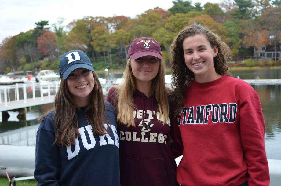 Saugatuck Rowers and Staples High School seniors Eden Schumer, Brooke Schwab, and Kelsey McGinley all recently signed National Letters of Intent to compete at the Division-I level. Photo: Contributed Photo
