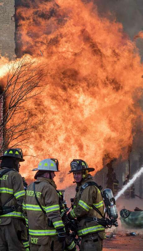 Firefighters from throughout the Capital Region responded to the blaze and worked through the night. Photo: Skip Dickstein