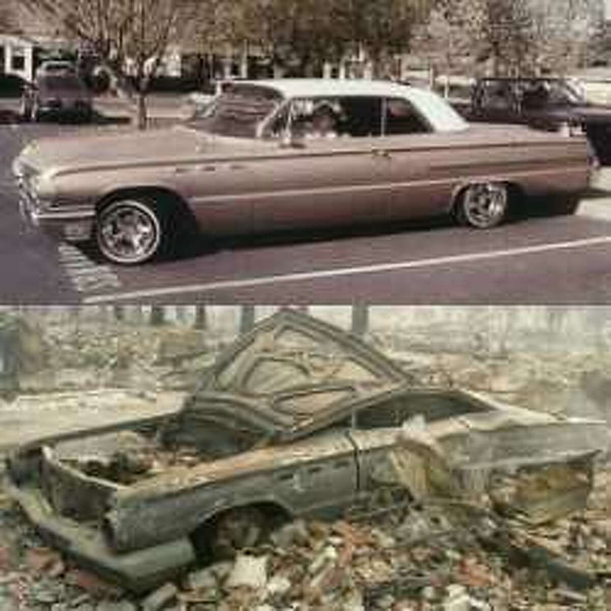 The above photo shows Scott Birdsall's 1962 Buick, which he bought at age 19 and fully restored, before and after the devastating Tubbs Fire, which tore through his Coffey Park neighborhood in October.