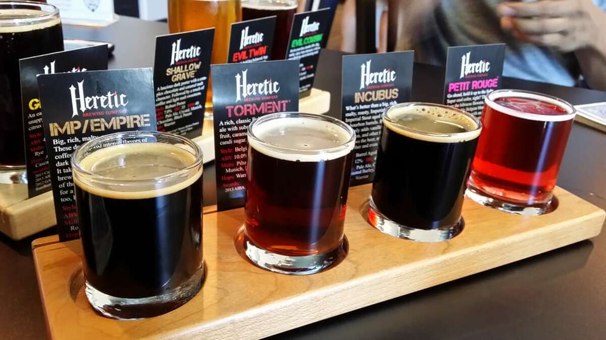 """Fairfield: Heretic Brewing Company, 1052 Horizon Dr., Fairfield With a motto like """"ordinary beer is boring,"""" you can expect you might find some wild brews at Heretic. The brewery, on the edges of the Bay Area, was formed in 2010 by the homebrew guru Jamil Zainasheff, and has been pouring a mix of ultra-hoppy and sour beers since before those styles were cool. Locals might know the brewery for the Evil Twin rye IPA, which is distributed around the Bay, but the place offers dozens of beers for every type of palate."""
